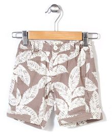 Pinehill Shorts Leaves Print - Light Brown And White