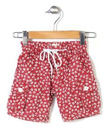 Pinehill Shorts With Drawstring Leaves Print - Red