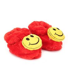 Cute Walk Booties Smiley Accent - Red And Yellow