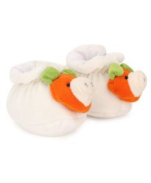 Cute Walk Booties Animal Face Accent - White Orange