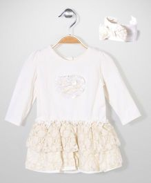 Vitamins Baby Heart Print Dress - Off White