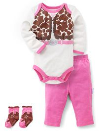 Vitamins Baby Cow Girl Print Set - Pink & White
