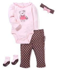 Vitamins Baby Bear Print Set - Light Pink