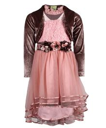 Cutecumber Layered Dress With Shrug Floral Applique - Peach