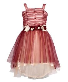 Cutecumber Layered Partywear Dress Rhinestones - Peach