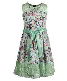 Cutecumber Sleeveless Floral Print Dress With Fabric Belt - Green