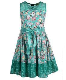 Cutecumber Sleeveless Floral Print Dress With Fabric Belt - Light Blue