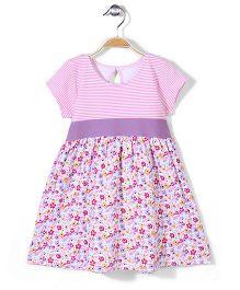 Zutano Banded Waist Style Dress - Pink & Purple
