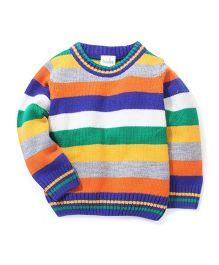 Babyhug Striped Sweater - Multi Color