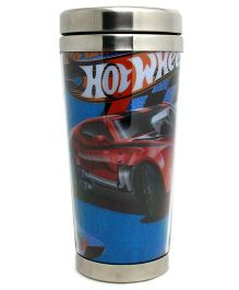 Hotwheels Glitter Stainless Steel Travel Glass Blue - 450 ml