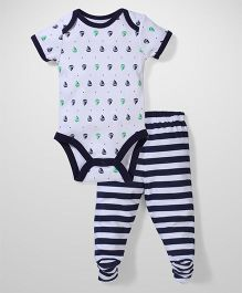 Vitamins Baby Navy Strips  Print Set - Navy & White