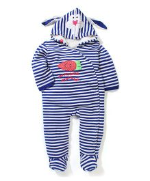 Yellow Apple Full Sleeves Footed Hooded Romper - Blue And White