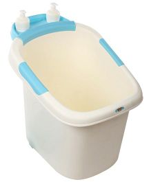 Babyhug Baby Bath Tub With Seat - White Blue