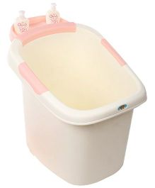 Babyhug Baby Bath Tub With Seat - White Pink