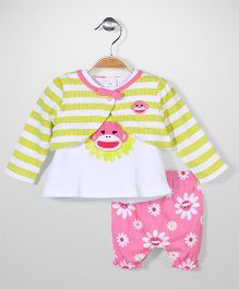 Baby Starters Cardigan Top & Shorts Sets - Multicolour