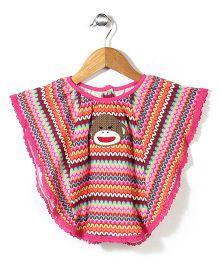 Baby Starters Monkey Printed Poncho - Pink