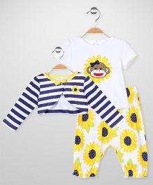 Baby Starters Sunflower Print Set - Yellow & White