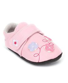 Jack & Lily Baby Shoes Style Booties Floral Motif - Pink