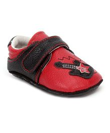 Jack & Lily Velcro Closure Baby Shoes Guitar Motif - Red