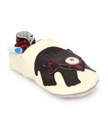 Jack & Lily Baby Shoes Bear Motif - Cream