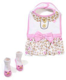 Baby Starters Bib & Socks - Pink & White