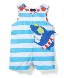 Mud Pie Shark Printed Romper - Blue & White