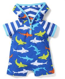 Mud Pie Shark Printed Hoodie Romper - Blue