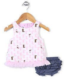 Mud Pie Dress With Bloomer - Pink & Blue