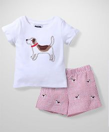 Mud Pie T-Shirt And Shorts Set - White And Pink