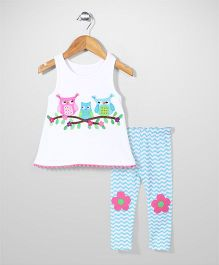 Mudpie Patch work Owl baby set - White & Blue