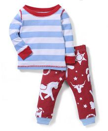 Mud Pie Stripes Nightwear - Sky Blue & White