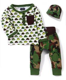 Mud Pie Dinosaur Printed Set - white & Green