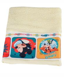 Mickey Mouse And Friends Printed Towel - Cream