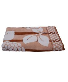 Sassoon Zero Twist Floral Bath Towel - Brown