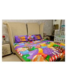 Candy Crush Bed Sheet Set Of  5 - Multi Colour