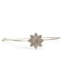 Pink Chick Rhinestone Studded Flower Hair Band - Silver