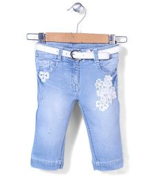 Tiny Girl Capri With Belt Stone Work - Light Blue