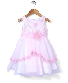 Tiny Girl Sleeveless Party Wear Frock Floral Applique - Light Pink