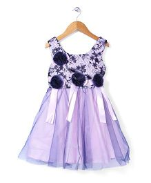 Tiny Girl Sleeveless Party Wear Frock Floral Applique - Purple