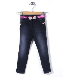 Tiny Girl Full Length Jeans With Rhinestone Bow Belt - Blue