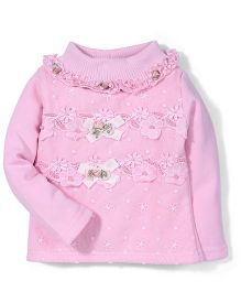 Tiny Girl Full Sleeves Party Wear Top Floral Applique - Pink