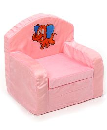 Luvely Kids Sofa Chair Elephant Embroidery - Pink