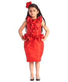 Kidology Front Frill Dress - Red