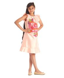 Kidology Rose 3D Applique Shift Dress - Blush & Fuschia
