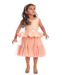 Kidology Noir Sequins Dress -  Peach