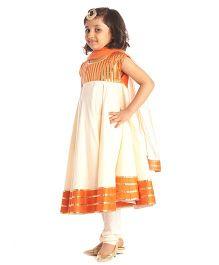 Kidology Anarkali Set - Orange & Ivory