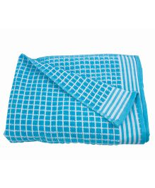 Sassoon Amber Check Cotton Terry Bath Towel - Aqua Blue