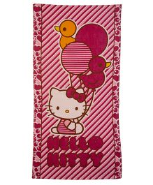 Hello Kitty Balloon Printed Towel - Dark Pink