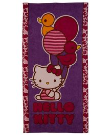 Hello Kitty Balloon Printed Bath Towel - Purple