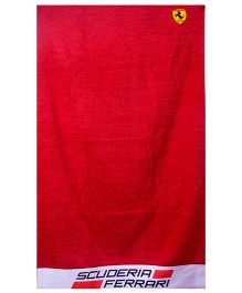 Ferrari Subli Printed  Bath Towel - Red
